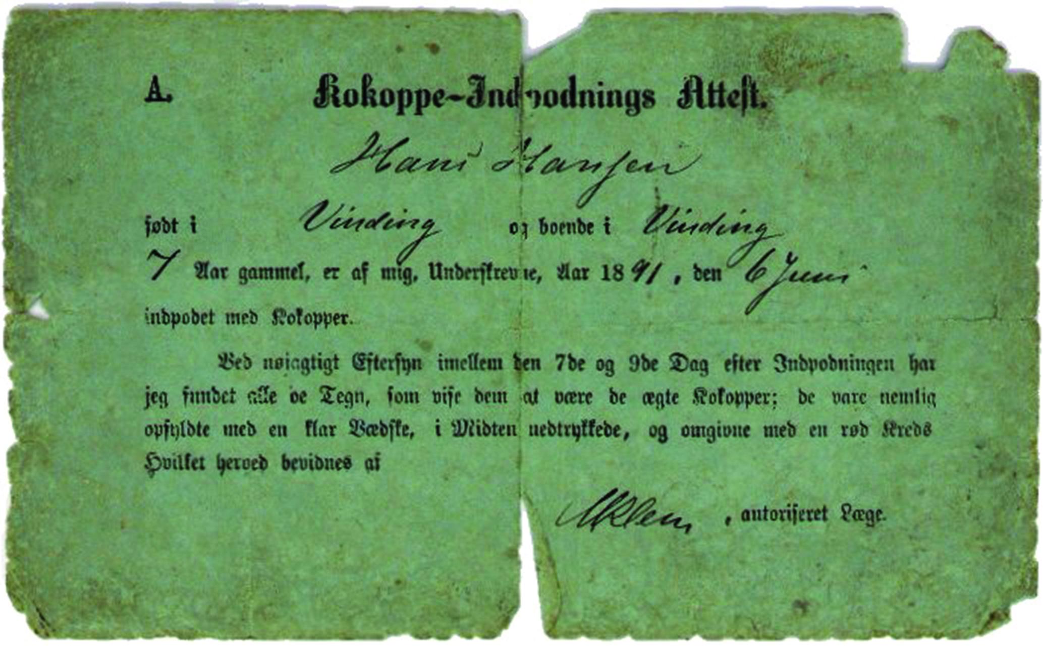 Kokoppeattest for Hans Hansen 1891