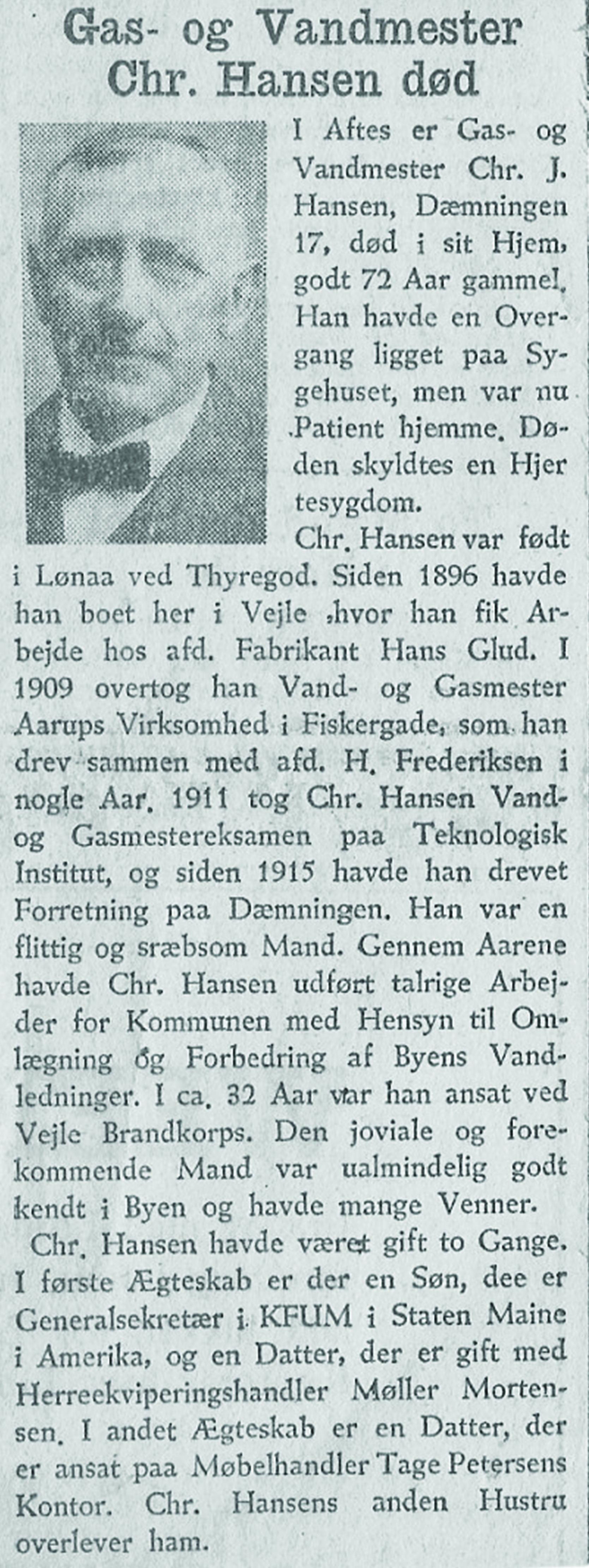 Dødsannonce d. 15. juni 1945 i Social-Demokraten, Vejle